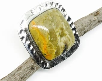 Bamboobee jasper  ring set in sterling silver(92.5). Adjustable size. Natural authentic stone.