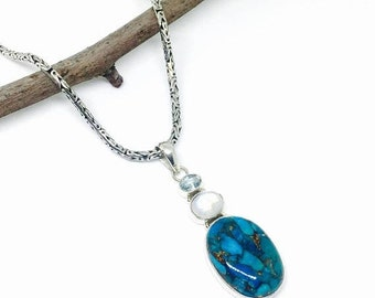 10% Turquoise, moonstone, bluetopaz multigemstone pendant/necklaces set in sterling silver 925. Natural authentic stones.