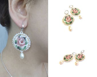 Earrings pearl roses Vyshyvanka Circle earrings disc White pink bridal earrings Miniature flowers earrings Bead embroidery earrings