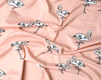 Peach Flamingo print double brushed poly knit by the yard, peach fabric with flamingos, 4 way stretch double brushed polyester lycra blend