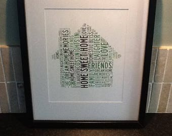 Personalised Home Word Art Print - A4