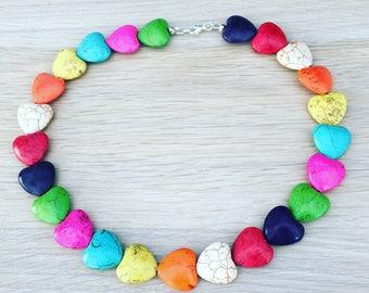 Howlite gemstone heart necklace, rainbow beads, Boho necklace, rainbow hearts, chunky necklace, colourful beaded necklace