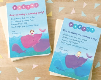 Personalised Swimming Party Invitations