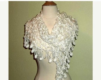 On Sale- White Crochet Shawl Triangle Lace Bridal Wedding Wrap Scarf Boho Summer Wrap