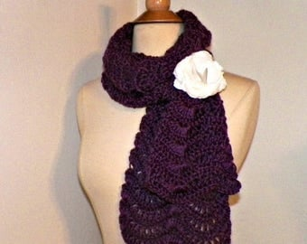 On Sale- Purple Scarf  Womens Wavy Lacy Chevron Cowl Extra Long Winter Neckwarmer With  Flower  Brooch