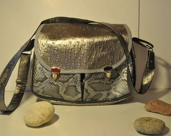 speckled gray leather and croco with shoulder bag