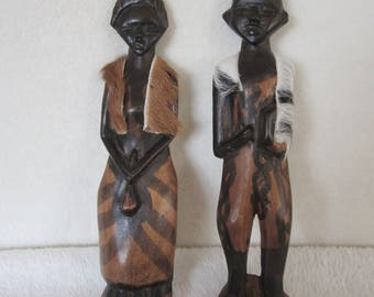 African Style Male & Female Wood Carvings -  vintage pair dressed in tribal attire and head-dress. Perhaps for their wedding. Collectible!