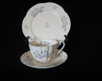 "SHELLEY Blue Rock Pattern 13591 Ludlow Shape-Trio, Teacup, Saucer, & 8"" Plate. Circa 1949-1966. Elegant Fine Bone China. Great Wedding Gift!"