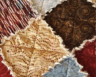 Tonga Sophisticate Batik - Blues, Burgundy, Browns, Creams - Large Rag Quilt / Picnic Quilt