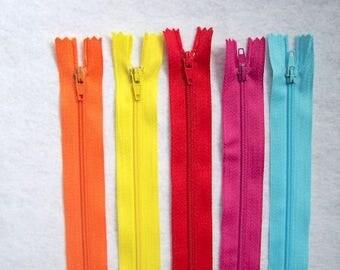 "Zips pack 5 zippers 8"" pack of 5  8"" zip zipper 8 inch (20cm) bright colours"