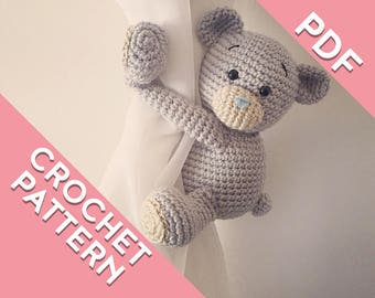 Teddy bear curtain tie back crochet PATTERN, left or right side crochet pattern PDF instant download tieback amigurumi pattern