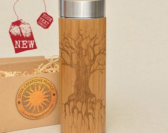 Customized Thermos Engraved Bamboo Wood TREE OF KNOWLEDGE Stainless Steel with Screw Lid
