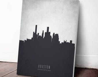 Houston Skyline Canvas Print, Houston Cityscape,Houston Art Print,Houston Decor Home Decor, Gift Idea, USTXHO19C