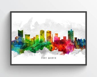 Fort Worth Skyline Poster, Fort Worth Cityscape, Fort Worth Print, Fort Worth Art, Fort Worth Decor, Home Decor, USTXFW12P