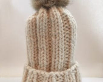 Chunky Cream Colored Beanie | Coyote Pom Pom | Wool-Blend Fur Trimmed Hat | Hand Knit | Ready to Ship