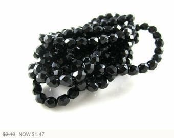 ON SALE Black Czech Fire Polished Faceted Beads Black Czech Round Beads Black Faceted Beads Black Fire Polished Beads 6mm (20pcs) 281V3