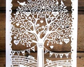 Original Personalised Family Tree Papercut Papercutting Gift First Wedding Anniversary