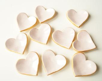 Wedding Favors, Baptism Favors, Pink Heart, Little Heart Bowl, Ceramic Heart, Set of 10