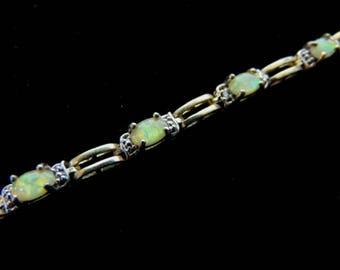 Women's Vintage Estate Sterling Silver Gold Tone Bracelet w/ Opal Stones 10g E3408