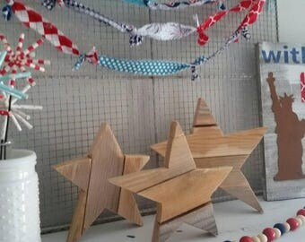 Pieced natural wooden Star Large size 11x10""