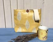 Vegan handbag summer crossbody bag with adjustable strap yellow gift for her handmade gift for bridesmaid tote bag with zipped pocket