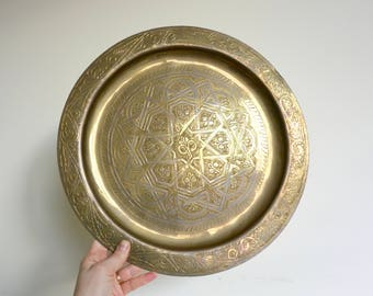 Large Round Brass Etched Tray / Plate / Wall Hanging
