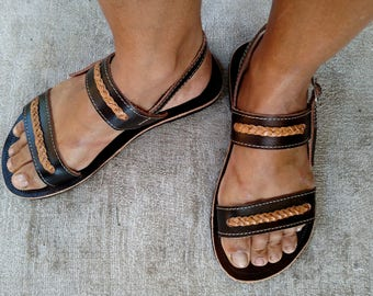 "Leather Sandals for Women Flat Leather Sandal Greek Style Boho Brown Leather Hippie Sandals  COISAS  ""LIZA"" Summer Sandals"