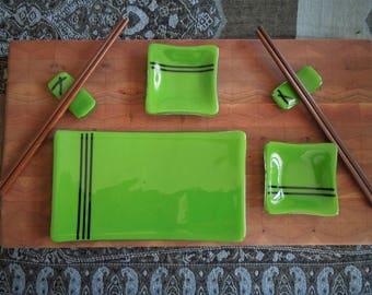 Fused Glass Pea Pod Green Sushi Set