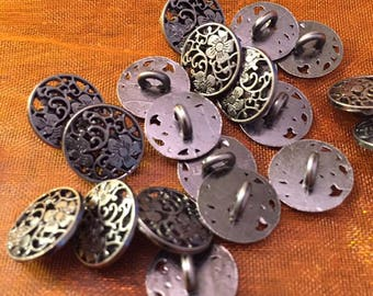 12 mm pewter colored metal shank button, fancy flower cut outs, set of 10