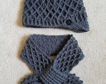 Crochet Neckwarmer Scarf Hat Set