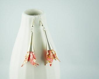 Origami paper, Orange lily flowers earrings