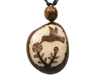 Tagua Nut Necklace: Hummingbird (1153-N344)
