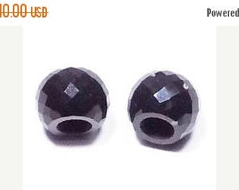 70% OFF Black Obsidian Handmade Faceted Round Loose Beads Pair-8x11mm With 5mm Hole-Free Shipping