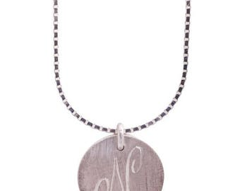 ON SALE Engraved silver disc pendant