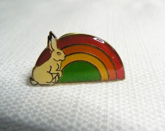 Deadstock - Never Worn - Vintage 80s - Bunny Rabbit and Rainbow - Cute / Kawaii Enamel Pin / Button / Pinback