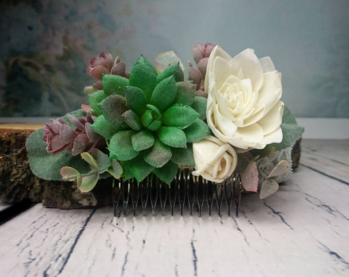 Succulents greenery wedding hair comb bridal hairpiece sola flowers dusty miller ivory elegant simple classy realistic