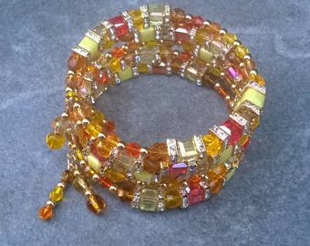 Yellow and Crystal Glass Memory Bracelet