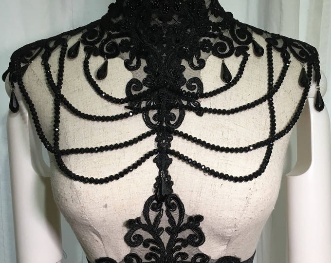 Gothic Victorian Lace harness with adjustable velvet elastic heavy beaded with glass beads and teardrop beads