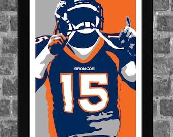 Denver Broncos Tim Tebow Portrait Sports Print Art 11x17
