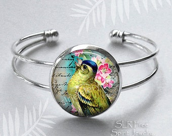 Song Bird Bracelet, Photo Image Jewelry, Yellow Bird, Flowers, Vintage Print Necklace, Nature Jewelry, Gift for Women, Birthday Gift