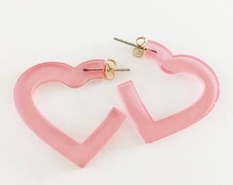 Acrylic laser cut pink heart hoop stud earrings