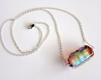 Autumn Veil Necklace, Amber Green Gold Lampwork Dichroic Glass Bead Necklace,  Lampwork Glass Bead Silver Chain Necklace
