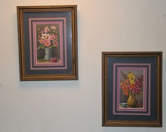 Professionally Framed Floral Prints Tremblays Art Gallery Collectible Vintage