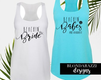 Beach Bachelorette Party Shirts Beachin Bride And Babes Racerback Tank Tops
