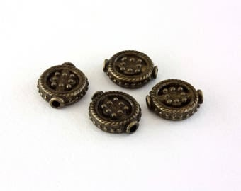 4 spacers flat ethnic bronze 13 mm