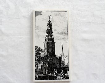 DISCOUNTED Vintage 1960s Dutch Wall Tile/Famous Landmark in City of Amsterdam The Westertoren/Rectangular Wall Tile/Vintage Dutch Wall Decor