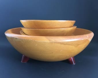 Set of 5 Baribocraft Maple Wood Salad Bowls Made in Canada