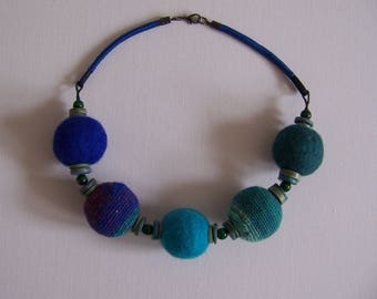 SARA.... this necklace has large beads crocheted and felted.