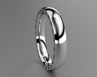 Silver 4mm Mens Wedding Band with Side Diamond Design, Classic Unique Thin 925 Sterling Silver Wedding Ring, Hipster Ring, Mens Wedding Ring