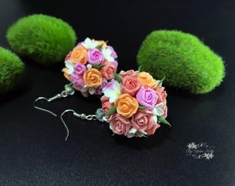 Pink roses Earrings, Spring Jewelry, Wedding Jewelry, Rose Earrings, Dangle Earrings, Pink Earrings, Pink flower earrings, Polymer Earrings